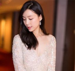 .张静初一袭银色仙裙 优雅亮相万达影夜